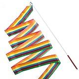 Natuworld 4M Bright Color Art Gymnastic Gym Rhythmic Dance Ballet Ribbon Silk Streamer with A Long Stick for Variety Movements Performance or Festival Wedding Decoration