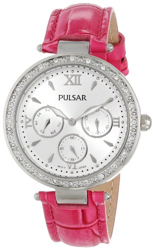 Pulsar Leather Silver-Tone Dial Women's Watch #PP6107