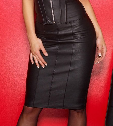 Leather Pencil Skirt 13-106 by Allure Leather Knee Length