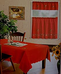 3-Pc Red CHRISTMAS BELLS Kitchen Window Curtain Set Drapes Cafe Tier & Swag