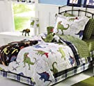Dinosaurs Dinos Boys Full Comforter, Shams and Sheet Set (7 Piece Bed in a Bag) Green White Blue Red