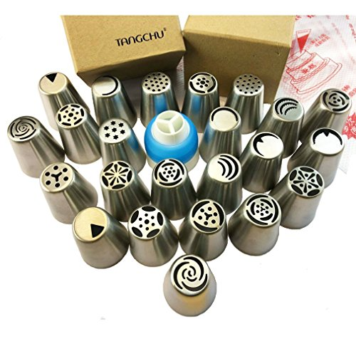 TANGCHU 23 Piece Cake Decorating Tip Set, Russian Nozzles, Silver