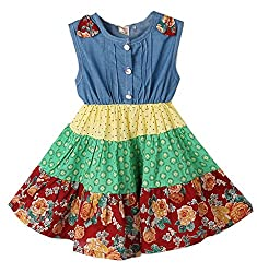 Kids Clothes Baby Toddlers Girls Pleated Flower Summer Denim Floral Dress
