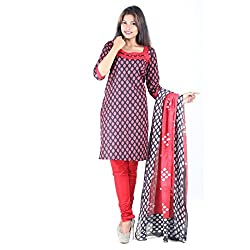 RangoliSF Woman's Cotton Unstitched Dress Material (RSFCR201 Red)