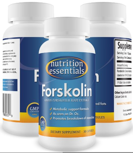 Clinically Proven Forskolin - 100% Pure Coleus Forskohlii Root Extract Standardized to 10%, 125mg by - (Recommended by Dr. Oz) for Ultimate Weight Loss, Fat Burning, and Losing Unwanted Belly Fat - 100% Organic Forskolin Promoting Lean Body Mass and Metabolism - 90 Day Supply with 100% Moneyback Guarantee! By Nutrition Essentials (90 Count / 3 Mo. Supply)