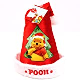 Kids Disney Winnie the Pooh Velour Santa Christmas Hat Red with White