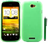Gel Skin Cover Case And Capacitive Universal Stylus Pen For HTC One S / Green