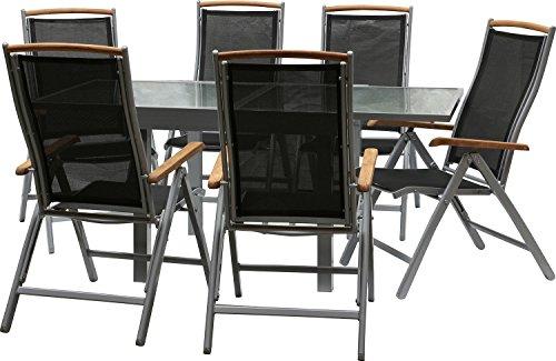 IB-Style-DIPLOMAT-Quadro-Gartengarnitur-6-Kombinationen-mit-Klappsthle-Alu-SILBERMATT-TEAKHOLZ-Textilen-SCHWARZ-6-Kombinationen-Ausziehtisch-mit-Sicherheitsglas-90-180-cm-Klappsthle-Gartenmbel-Hochleh
