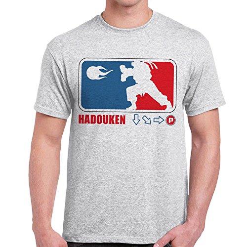 CHEMAGLIETTE! - Maglietta Divertente Vintage Video Games Anni 80 T-Shirt Street Fighter Hadouken, Colore: Cenere, Taglia: L