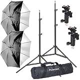 Kit de montaje de para sombrillas de flash profesional de estudio, Polaroid Pro Digital  incluye: 2 soportes resistentes de luz con amortiguación por aire, dos 2 interiores blancos satinados de sombrillas con tapa extraíble