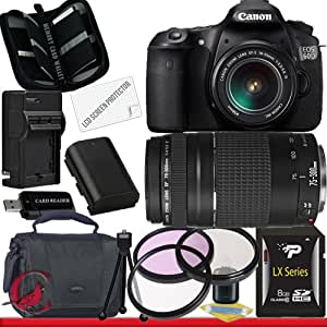 Canon EOS 60D 18 MP CMOS Digital SLR Camera w/ EF-S 18-55mm f/3.5-5.6 IS Lens & Canon EF 75-300mm f/4-5.6 III Telephoto Zoom Lens Package 1