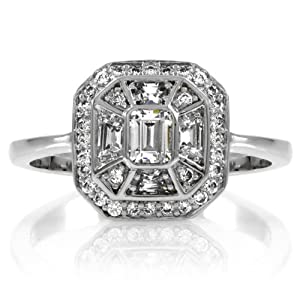 Celebrity Star Emitations Heirloom Inspired Jewelry: Mona's CZ Vintage Engagement Ring Size 9 from Enlightened Expressions