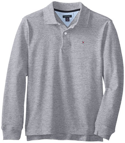 Tommy Hilfiger Big Boys' Long Sleeve Ivy Polo Shirt, Grey Heather, Large front-970178