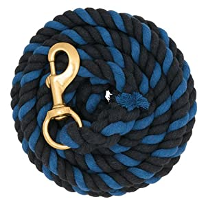 Weaver Leather Striped Cotton Lead Rope with Solid Brass 225 Snap, Black/Blue