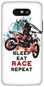 The Racoon Grip Sleep Eat Race Repeat hard plastic printed back case / cover for LG G5