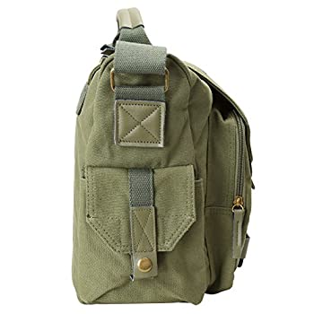 Evecase DSLR Large Canvas Camera and Laptop Case Messenger Bag w/Rain Cover - Olive Green 2