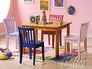 5pcs Kid's Multi Color Table and 4 Chairs Set