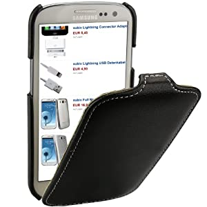 xubix PREMIUM ECHT Leder Flip Case Ledertasche Hülle - Spezielle Anfertigung fuer - Samsung Galaxy S3 / S III / GT-i9300 i9300 Schutzhülle - Schwarz