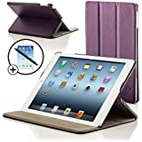 ForeFront Cases® New iPad 2 / iPad 3 & iPad 4 Luxury Leather Case / Cover Stand - Apple iPad 2 , iPad 3 & iPad 4 / 2nd , 3rd & 4th Gen - Magnetic Auto Sleep Wake Function + STYLUS & SCREEN PROTECTOR WORTH £9.95 - PURPLE