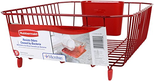 Rubbermaid L3-6008-M5 Antimicrobial Small Dish Drainer, Red
