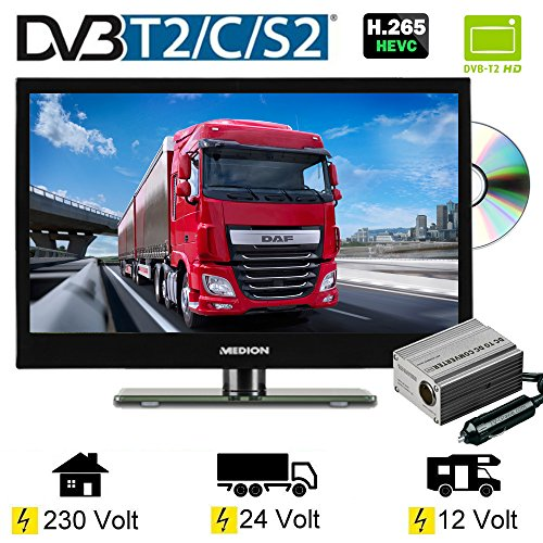 "LED TV 15.6"" Zoll 39,6cm Fernseher DVD DVB-C / S2 / T/ T2 230V / 12V / 24 Volt"