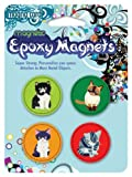 MagnaCard Magnetic Epoxy Magnets, Assorted Cat Designs, 4 Pack (61201)