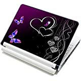 """Meffort Inc® 15 15.6 Inch Laptop Notebook Skin Sticker Cover Art Decal - Fits Laptop Size of 13"""" to 16"""" (Included 2 Wrist Pad) - Flower Butterfly Design"""
