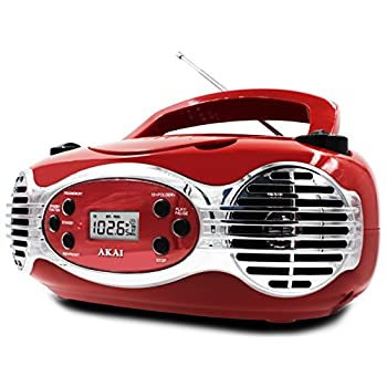 Akai CE2200R CD Boombox FM PLL Radio, Red