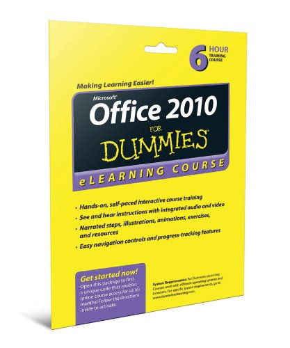 Office 2010 For Dummies eLearning Course Access Code Card (6 Month Subscription) (Contact Centers For Dummies compare prices)