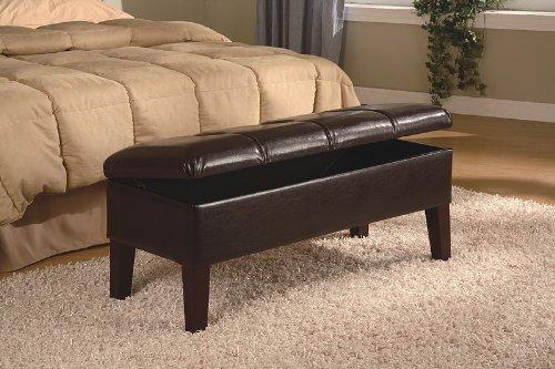 Coaster Button-Tufted Design Storage Bench, Brown Leatherette