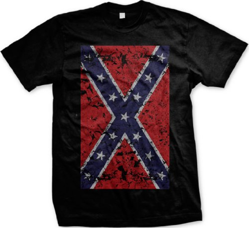 Big Confederate Flag Mens T-Shirt, Confederate States Distressed Worn Faded Rebel Flag Men'S Tee Shirt, X-Large, Black