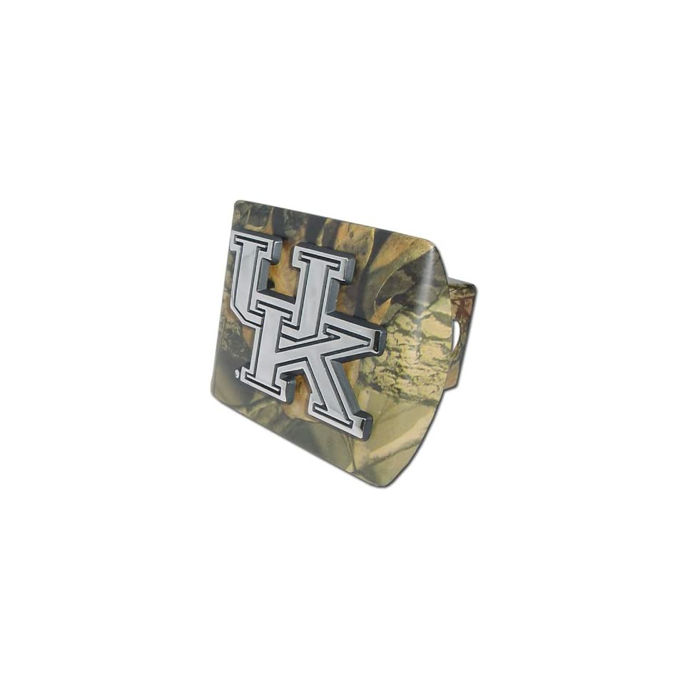University of Kentucky Wildcats Camo with Chrome UK Emblem NCAA College Sports Metal Trailer Hitch Cover Fits 2 Inch Auto Car Truck Receiver