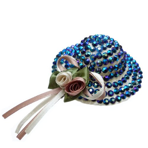 Ange Out Of The City - Barrette Pince Cheveux bibi mariage soirée - Mini Chapeau De Paille - Strass cristal bleu rubans satin