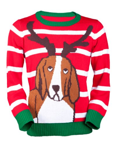Jingleballz Men's Antler Dog Sweater -XXL Red/White