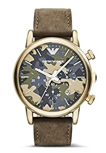 Emporio Armani AR1818 Camo Dial Green Leather Strap Men's Watch