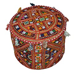 Indian Traditional Home Decorative Ottoman Handmade and Patchwork Foot Stool Floor Cushion Cover, 18