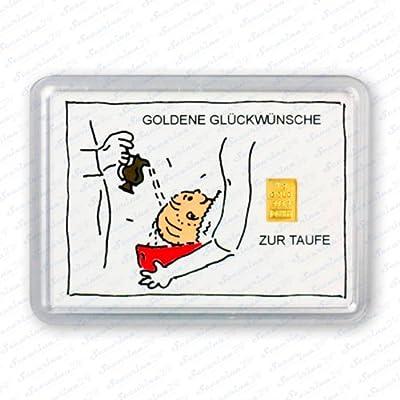 """Goldbarren 1g 1 Gramm Motivbox """" Zur Taufe """" Gold Barren + Zertifikat von Securina24"""