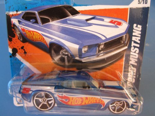 2011 Hot Wheels SHORT CARD '69 Ford Mustang Blue #155/244 - 1