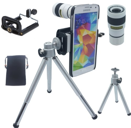 Lesung®8X Magnifier Zoom Aluminum Universal Manual Focus Telephoto Telesocpe Phone Camera Lens Kit With Tripod For Iphone 4 4S 5 5S 5C Itouch Samsung Galaxy S3/I9300/S4/I9500/S5/Note 1/2/3(White)