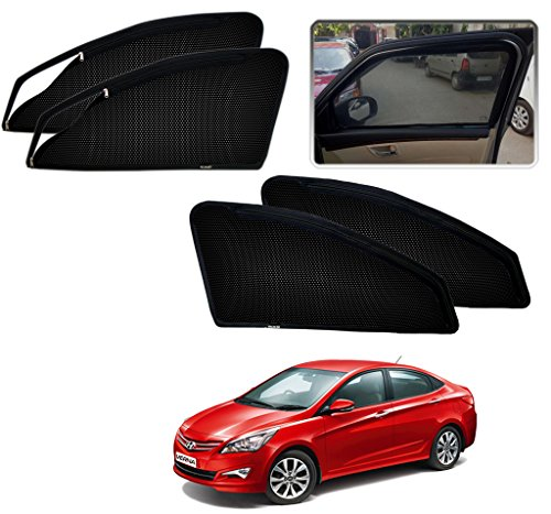 Auto Pearl – Premium Quality Zipper Magnetic Sun Shades Car Curtain For – Hyundai Verna Fludic 4S – Set of 4 Pcs