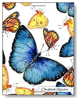 Butterflies Checkbook Register - A beautiful book with wide lines to easily track all your checking account activity without having to write tiny and cram everything into those little check register booklets.