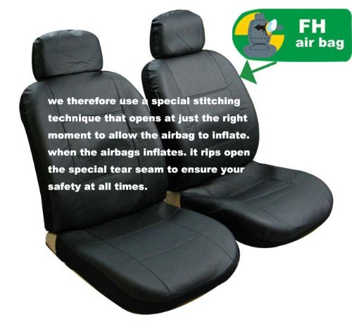 Univerisal Front Car Seat Cover Airbags Readay Solid Black Leather Pu002 Blk Front front-66660