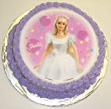 "Barbie Chocolate Decorated Cake Single Layer 8"" Round Lite Blue Trim"