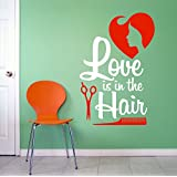 Decor Villa Love Is In The Hair Wall Decal And Sticker Red & White Color Extra Large Size- 60*91Cm
