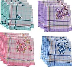 Jai Guruji Enterprises Women's Handkerchief (JG_0102, 12 Pieces)