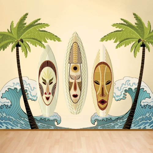 Tiki Surf Ocean Beach Wall Mural - Easy Peel & Stick Wall Stickers Decals