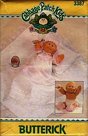 Butterick 3387 Cabbage Patch Preemie Christening Outfit Sewing Pattern Vintage front-605363
