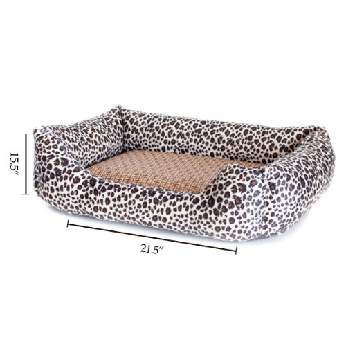 Colorfulpets Square Leopard Print Dog/Cat/Pet Bed, 22-Inch By 16-Inch, Medium Size Animal Bed front-124567