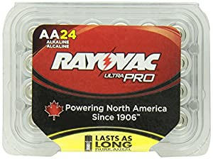Rayovac Alkaline AA Batteries, 24-Pack with Recloseable Lid (ALAA-24)