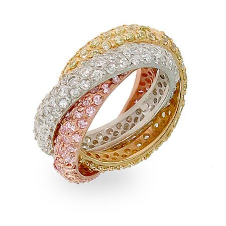 Pave Rolling Trio Triple Roll Ring Size 7 (Sizes 5 7 8 9 10 Available)